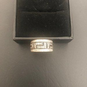 Sterling Silver and Black Pave Ring